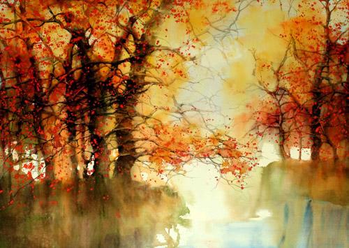 Цветные паутинки осени пейзажная
