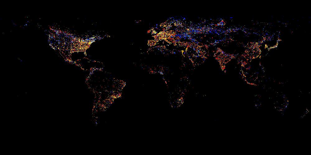 Огней вид из космоса за 1993 2003 годы