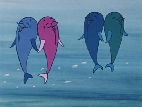 Красивая картинка Четыре дельфина.