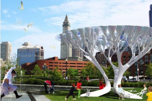 Boston Treepods - искусственные деревья, вырабатывающие кислород