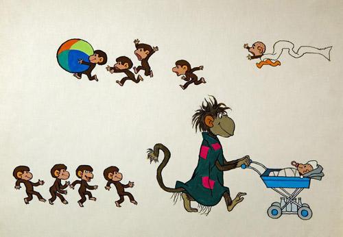 обезьянки с мультф трафарет рисунок оно термобелье