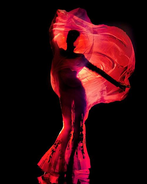 """Pierre Dal Corso.  Ткань, """"воспламененная"""" фотоартом - """"Burning haute"""""""