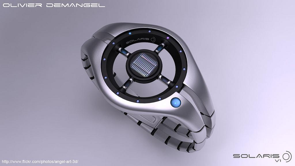 Solaris - наручные часы, питающиеся солнцем. Olivier Demangel.